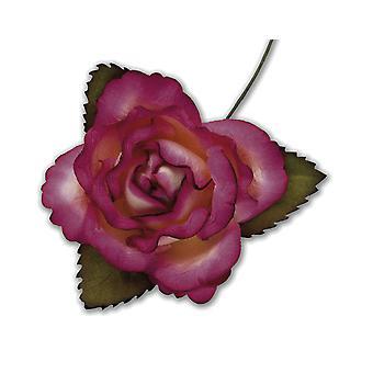 SISTE FÅ - 12 Fuchsia Rosa 45mm Papir Rose Blomster