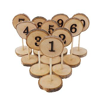 1-10 Rustic wood table numbers slices stick stand base seat cards decor retro wedding party supplies