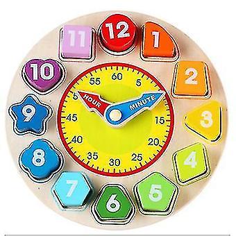 Wooden color digital clock cognitive learning alarm clock educational children's toy