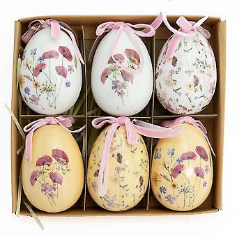 6 Pack 7.5cm Vintage Bloemen Plastic Opknoping Eieren voor Paasboom Decoraties