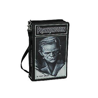 Svart Vinyl Frankenstein Bok Handväska Nyhet Koppling Handväska Crossbody Väska Mary Shelley