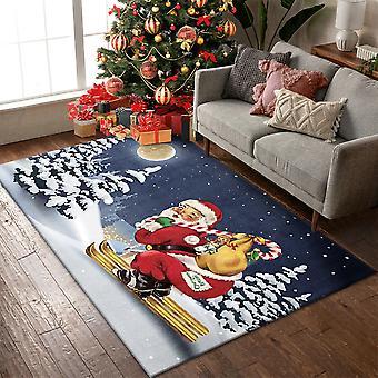 Homemiyn Decoración navideña Alfombra antideslizante Alfombra de felpa suave para el dormitorio de la sala de estar