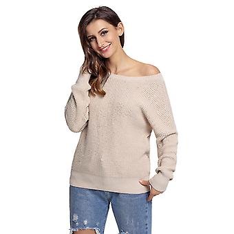 Women's Long Sleeve Crew Neck Solid Color Knit Pullover Sweater