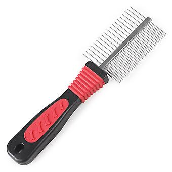 Pet Dog Hair Comb Black Handle Bone Footprints Double-sided Comb Dog Brush