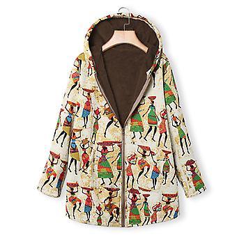 Fleece vuorattu takki Naiset Hippi Takki Talvi Lämmin Päällysvaatteet Top Plus Size