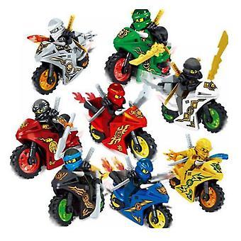 8x Ninjago Motorfiets Set Minifiguren Figuren Blokken Speelgoed