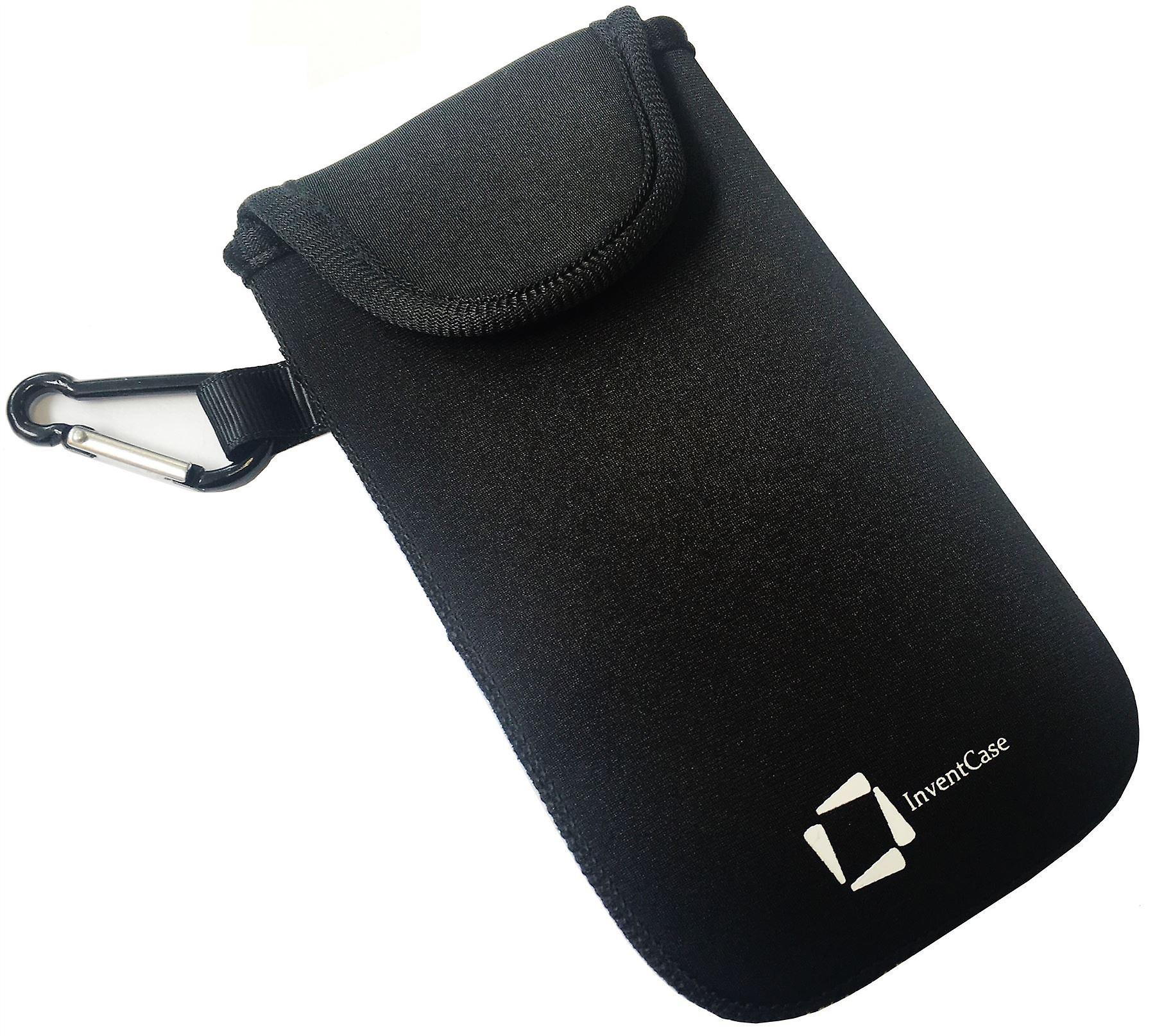 InventCase Neoprene Impact Resistant Protective Pouch Case Cover Bag with Velcro Closure and Aluminium Carabiner for BlackBerry Q5 - Black