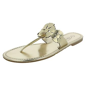 Las señoras punto plano del dedo del pie Post sandalia con diseño de flores - F0391