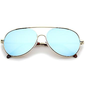 Classic Brow Bar Semi-Rimless Colored Mirror Lens Aviator Sunglasses 57mm