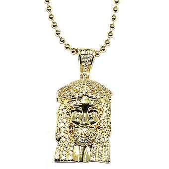 18k Gold Plated CZ Micro Jesus Piece With 30 Inch Ball Chain
