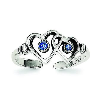 925 Sterling Silver Solid Blue CZ Cubic Zirconia Simulated Diamond Love Heart Toe Ring Jewelry Gifts for Women