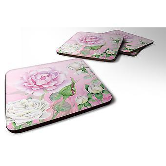 Carolines Treasures  BB7447FC Set of 4 Rose Garden Foam Coasters Set of 4