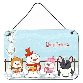 Feliz Natal coral francês Bulldog preto parede branca ou porta-impressões de suspensão