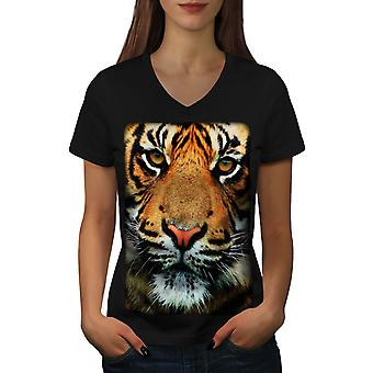 Tiger Face Nature Animal Women BlackV-Neck T-shirt | Wellcoda