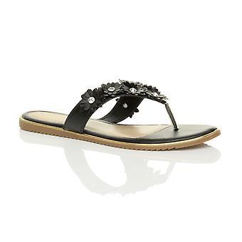 Ajvani womens flat flower diamante summer beach flip flops sandals