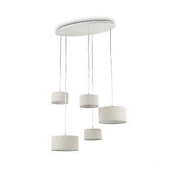 Ideal Lux Ekos soffitto piatto con 5 Cascade tortora tamburo ombra sospensioni
