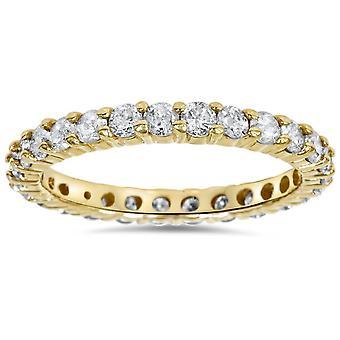 1 1 / 2ct Zinke Ewigkeit Diamantring 14K Gelbgold