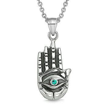 Alle ser følelse Buddha øje Hamsa magiske beføjelser Amulet grønne krystal vedhæng halskæde