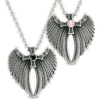 天使の翼のケルト族十字愛カップル最高の友人模擬模擬オニキス ピンク猫目ネックレス