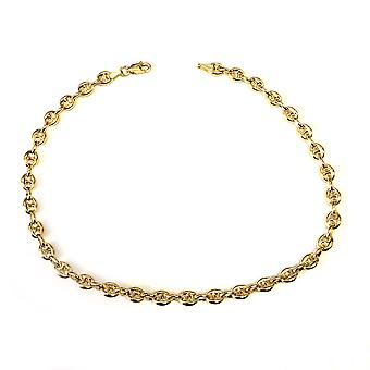 14K Yellow Gold Mariner Chain Anklet Bransoletka, 10