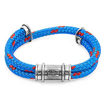 Anchor & Crew Blue Larne Silver And Rope Bracelet