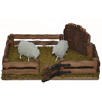 Nativity accessories stable Nativity set sheep pen pet enclosure with 2 sheep