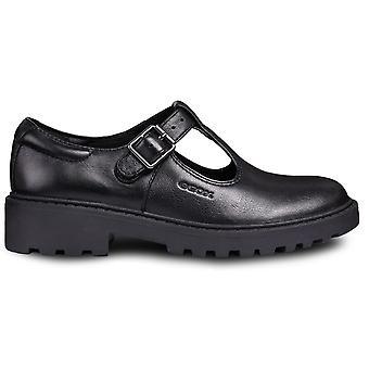 Geox Girls Casey J8420E T-bar School Shoes Black