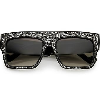 Women's Rhinstone Crystal Flat Top Square Sunglasses Mirrored Lens 57mm