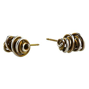 Ti2 Titanium Random Chaotic Stud Earrings - Tan Beige