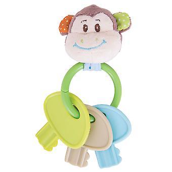 Bigjigs Toys Soft Plush Cheeky Monkey Key Rattle Teether Newborn Sensory Baby