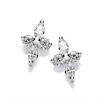 Cavendish French Silver and Cubic Zirconia Starry Cross Earrings