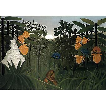 The Lion's Meal,Henri Rousseau,60x40cm