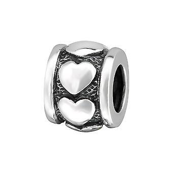 Herz - 925 Sterling Silber Plain Beads - W11103X