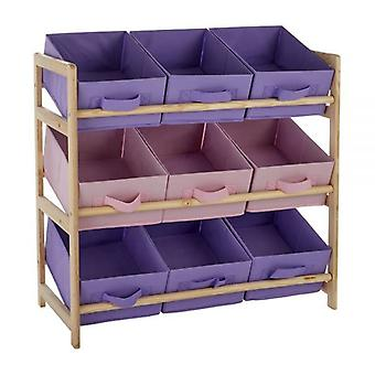 9 Canvas Tubs Kids 3 Tier Storage Unit