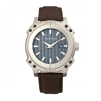 Morphic M68 Series Leather-Band Watch w/ Date - Silver/Brown
