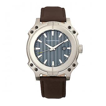 MORPHIC M68 serie lederen-Band Watch w / Date - zilver/bruin