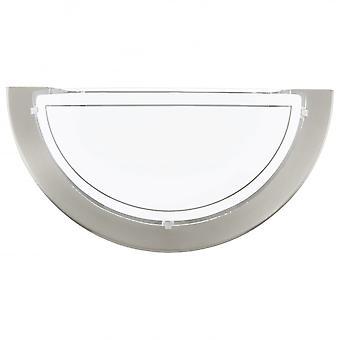 Eglo Planet Matt nikkel veggen Uplighter med Satin Glass