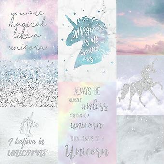 Unicorn tapet Collage Glitter effekt gnistre skyer Sky børn luksus Arthouse