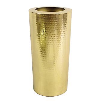 Leaf Metal Vase Large 15 x 30cm High Hammered Gold Colour