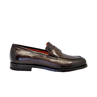 Santoni Mchi12693lc5elavt50 Men's Brown Leather Loafers