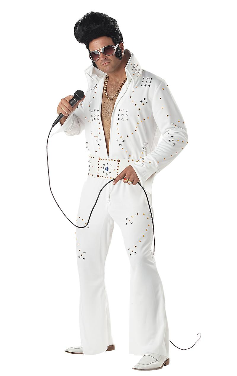 Mens Rock Legend Elvis Presley Rock & Roll King 50s Fancy Dress Costume