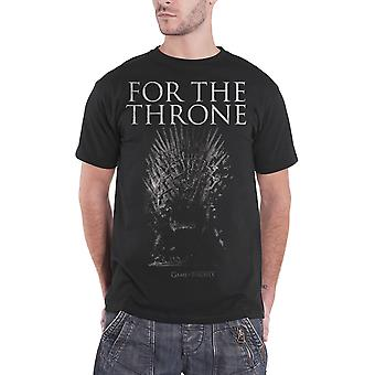 Game of Thrones T Shirt For The Throne Winter is Here Logo Official Mens Black