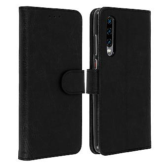 Flip wallet case, magnetic cover with stand for Huawei P30 - Black