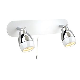 Firstlight-2 faretti luce bar Switched bagno lampada da soffitto bianco, cromo IP44-8202WH