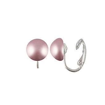 Éternelle Collection éthérée poudre Rose autrichien verre perle Stud Clip sur boucles d'oreilles