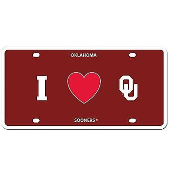 "Oklahoma Sooners NCAA ""I Heart"" License Plate"