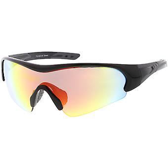 Sport TR-90 semi-uten innfatning wrap Shield solbriller farget speil mono linse 72mm