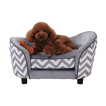 Pawhut D04-072GY Plush Fur Dog Sofa Couch Wooden Frame Deluxe Pet Sofa Lounger Cat Bed w/Cushions (Grey)