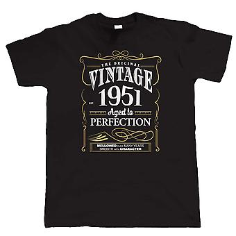 Vintage 1951 Aged To Perfection, Mens T Shirt Birthday Year Gift Him Dad Fathers