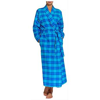 Britische Boxer Tartan Two Fold Flannel Robe-Aqua Blue